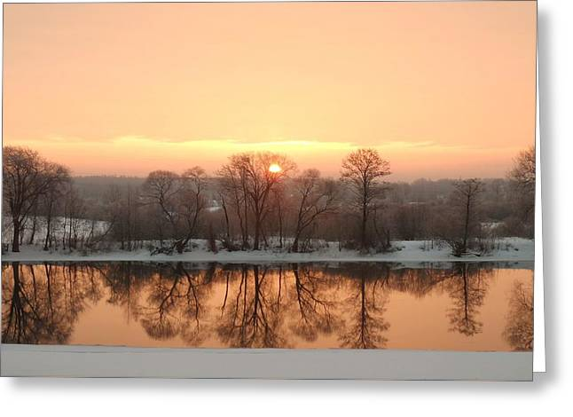 Sunrise On The Ema River Greeting Card