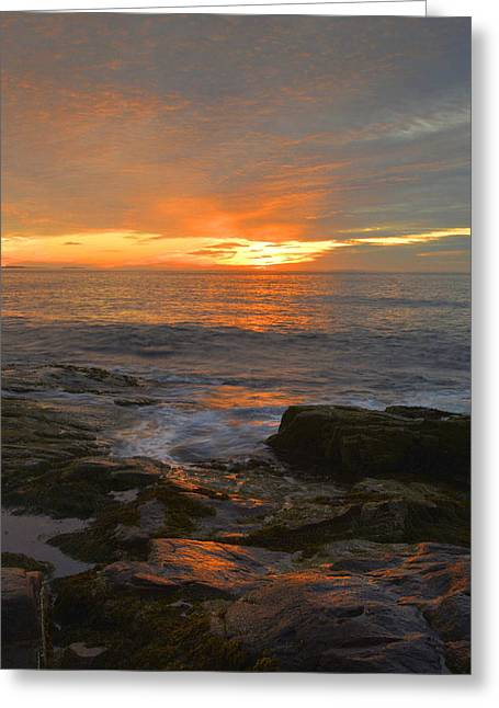 Sunrise On The Gulf Of Maine Greeting Card by Stephen  Vecchiotti