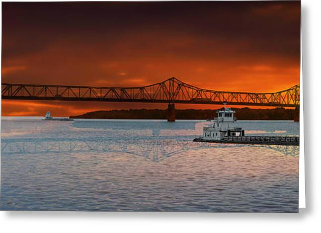 Sunrise On The Illinois River Greeting Card by Thomas Woolworth