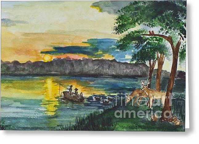 Sunrise On The Lake Greeting Card