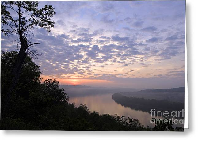 Sunrise On The Ohio - D002783a Greeting Card by Daniel Dempster