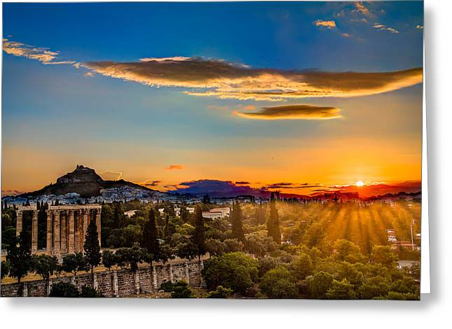 Greeting Card featuring the photograph Sunrise On The Temple Of Olympian Zeus by Micah Goff