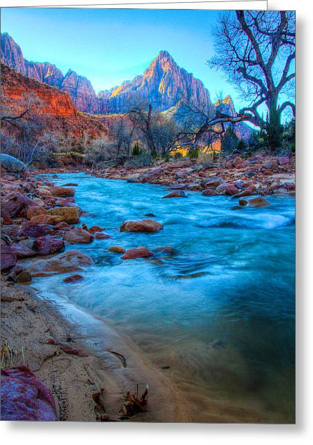 Sunrise On The Virgin River Greeting Card by Laura Palmer