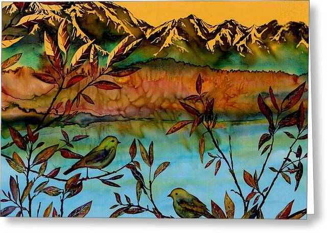 Sunrise On Willows Greeting Card by Carolyn Doe