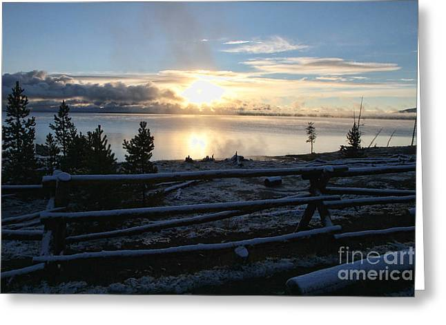 Sunrise On Yellowstone Lake Greeting Card by Edward R Wisell