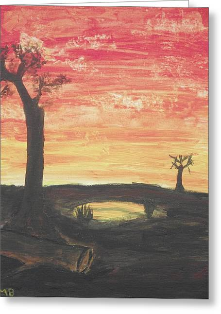 Greeting Card featuring the painting Sunrise Or Sunset by Martin Blakeley