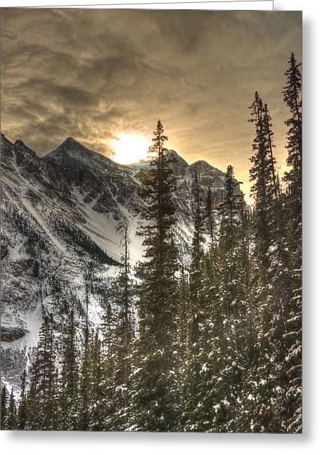 Sunrise Over A Mountain Ridge Greeting Card