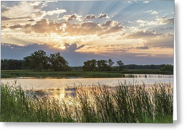 Sunrise Over Backwater Of The Milk Greeting Card by Chuck Haney
