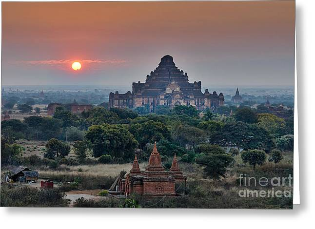 sunrise over Bagan Greeting Card by Juergen Ritterbach