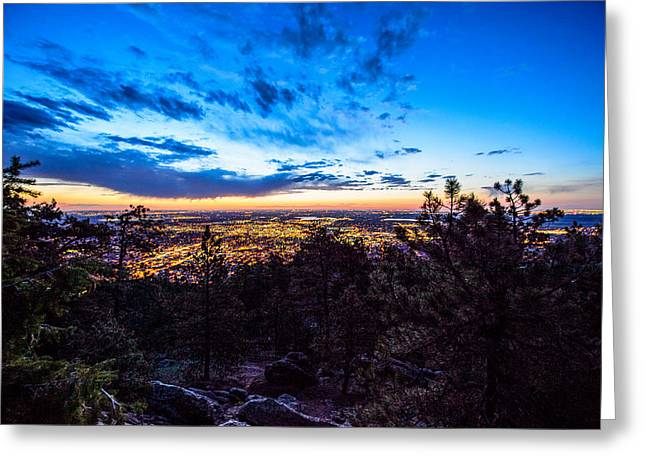 Sunrise Over Boulder Greeting Card by Tom Cordova