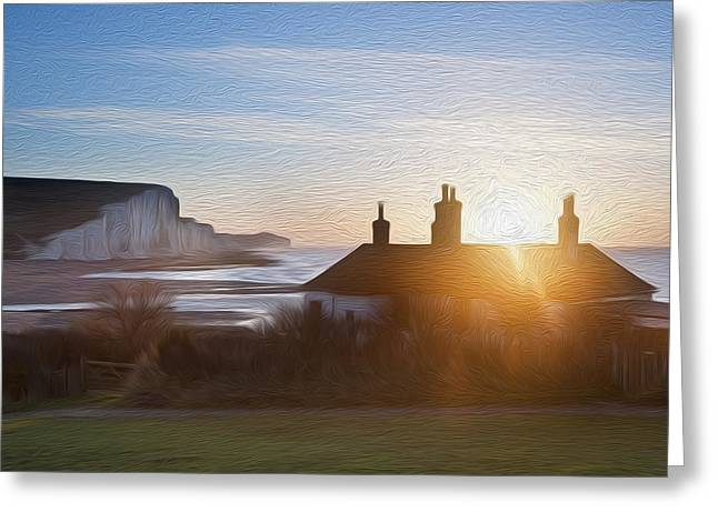 Sunrise Over Coastguard Cottages At Seaford Head With Seven Sisters Digital Painting Greeting Card by Matthew Gibson
