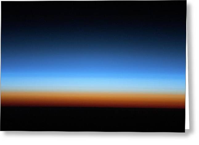 Sunrise Over Earth Seen From Space Greeting Card