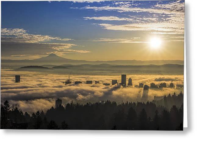 Sunrise Over Foggy Portland Greeting Card