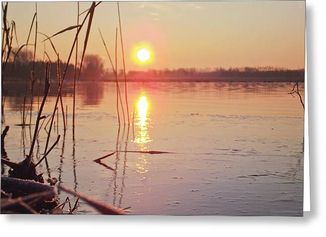 Sunrise Over Frozen Water Greeting Card
