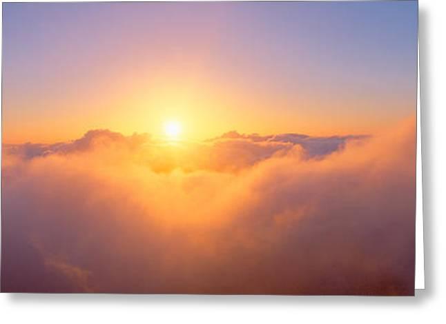Sunrise Over Haleakala Volcano Summit Greeting Card by Panoramic Images