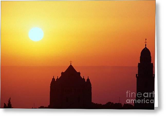 Sunrise Over Jerusalem Greeting Card by Thomas R Fletcher