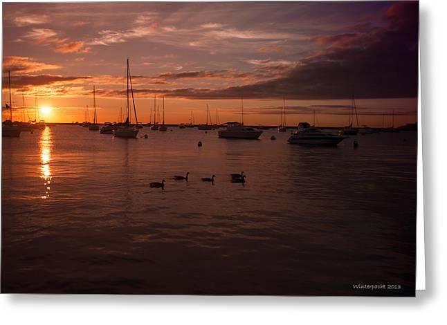 Sunrise Over Lake Michigan Greeting Card