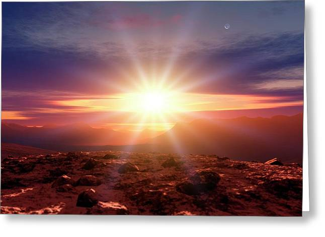 Sunrise Over Mountains Greeting Card