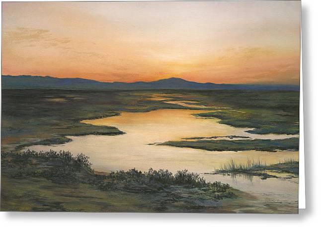 Sunrise Over Oakland Hills Greeting Card by Martha J Davies