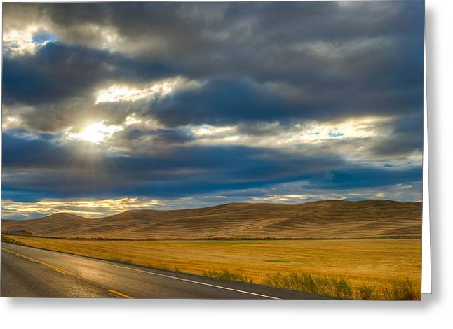 Sunrise Over Palouse Road Greeting Card by Chris McKenna