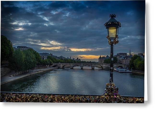 Sunrise Over Paris Greeting Card by Mark Llewellyn