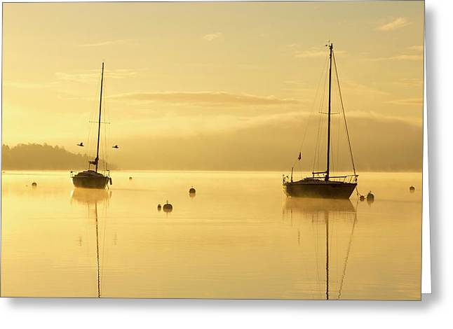 Sunrise Over Sailing Boats Greeting Card by Ashley Cooper