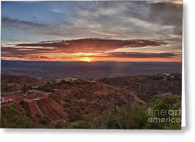 Sunrise Over Sedona With The Jerome State Park Greeting Card
