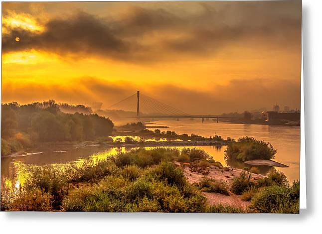 Sunrise Over Swiatokrzyski Bridge In Warsaw Greeting Card