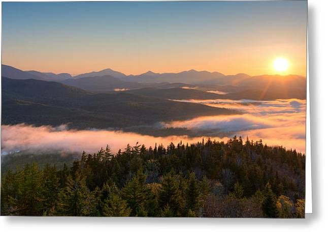 Sunrise Over The Adirondack High Peaks Greeting Card by Panoramic Images