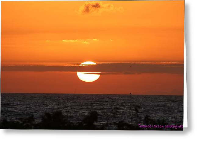 Sunrise Over The Atlantic Greeting Card by Nance Larson