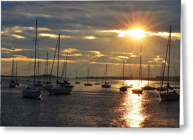 Sunrise Over The Boston Harbor Greeting Card by Toby McGuire
