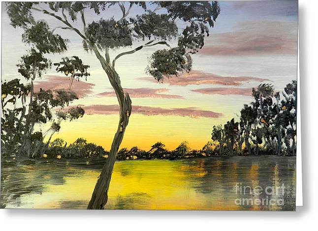 Sunrise Over The Murray River At Lowson South Australia Greeting Card