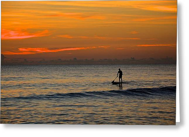 Sunrise Paddling Greeting Card by Cloe Couturier