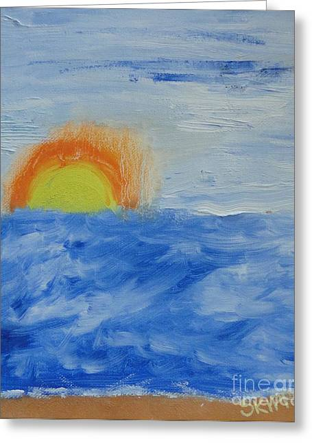Greeting Card featuring the painting Sunrise by PainterArtist FINs daughter