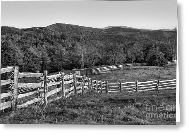 Sunrise Pastures - Blue Ridge Parkway Bw Greeting Card