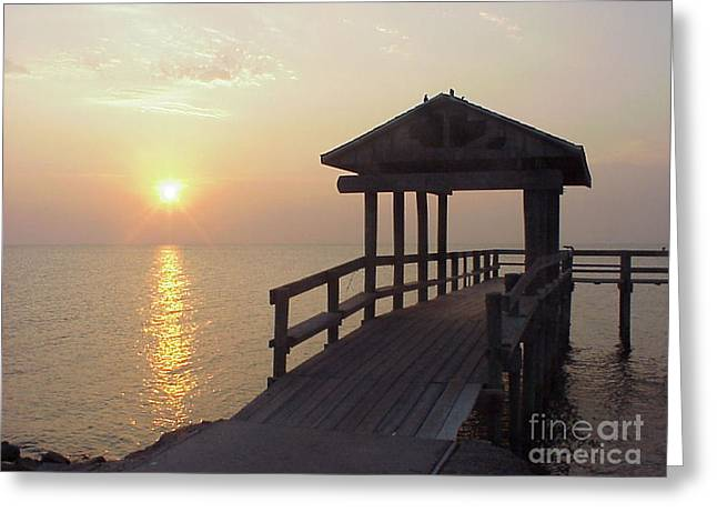Sunrise Pier 1 Greeting Card by D Wallace