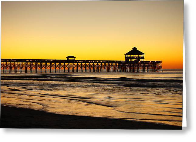 Sunrise Pier Folly Beach Sc Greeting Card