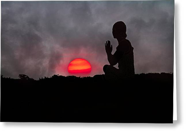 Sunrise Prayer Greeting Card by Betsy Knapp
