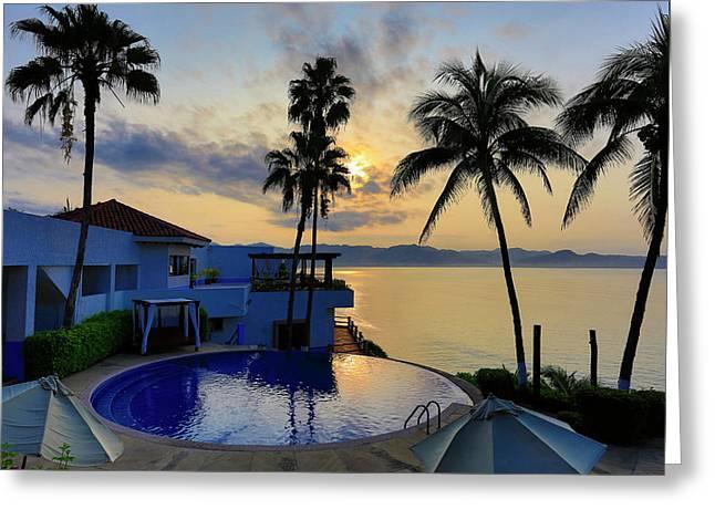 Sunrise, Punta Serena Villas And Spa Greeting Card by Douglas Peebles