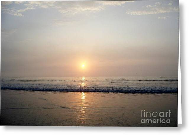 Sunrise Reflection Shines Upon The Atlantic Greeting Card by Eunice Miller