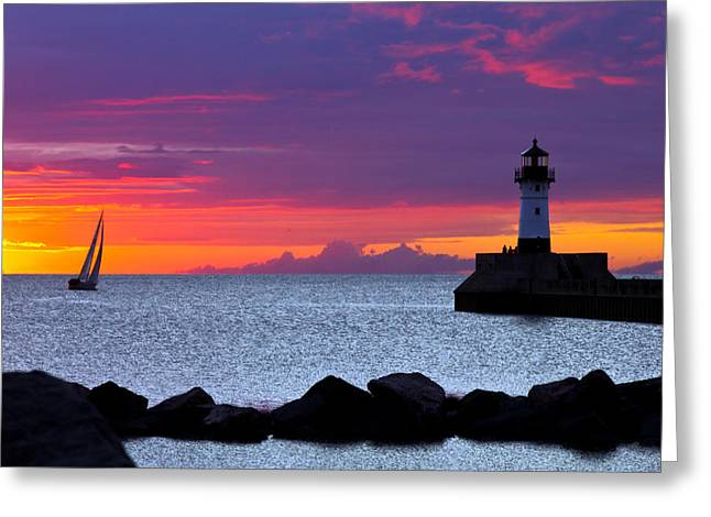 Sunrise Sailing Greeting Card by Mary Amerman