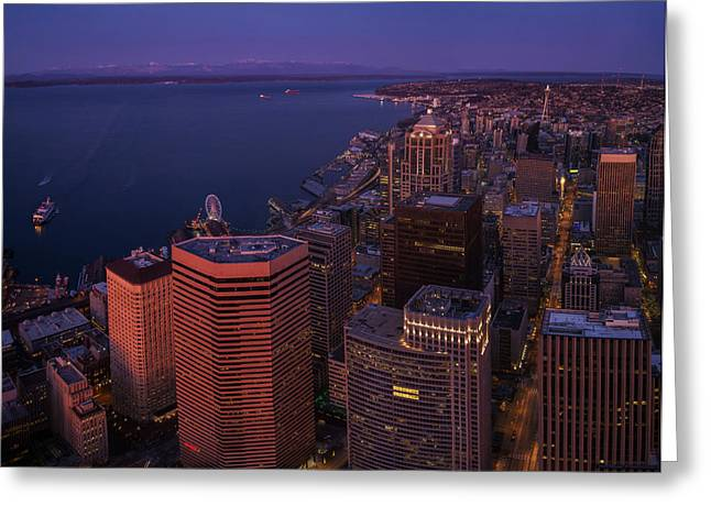Sunrise Seattle Moonglow Greeting Card by Mike Reid
