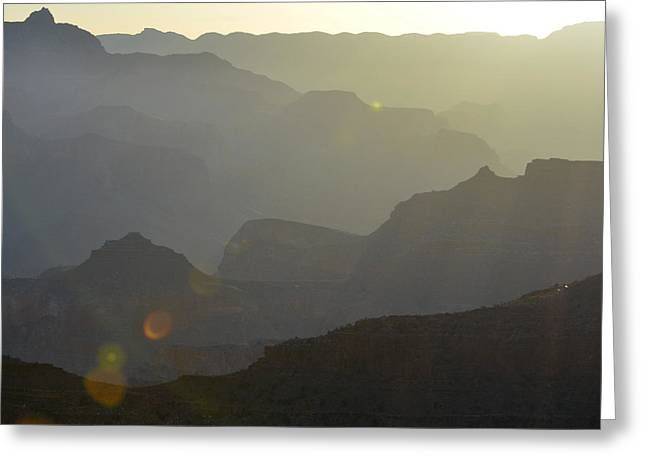 Sunrise Silhouettes With Lens Flare In Grand Canyon National Park Square Greeting Card by Shawn O'Brien