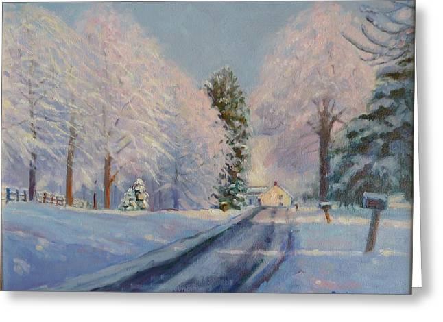 Sunrise Snow Greeting Card by Bonita Waitl