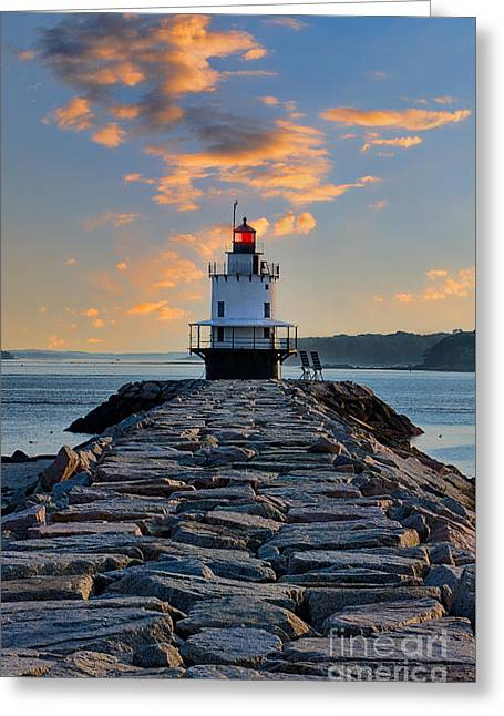 Sunrise Spring Point Ledge Greeting Card by Jerry Fornarotto
