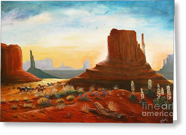 Sunrise Stampede Greeting Card by Marilyn Smith