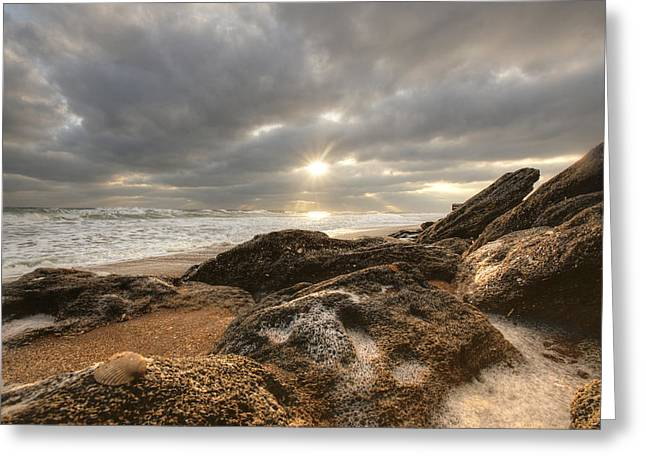 Sunrise Surf On The Rocks Greeting Card by Danny Mongosa