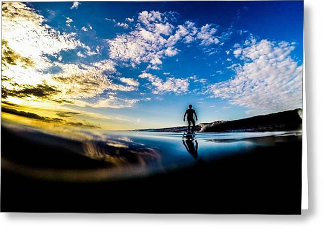 Sunrise Surfer Greeting Card by David Alexander