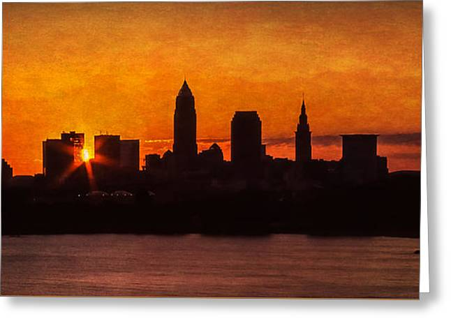 Sunrise Through The City Greeting Card by Dale Kincaid