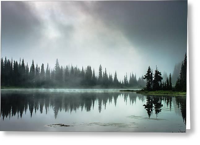 Sunrise Through The Mist Greeting Card by Brian Xavier
